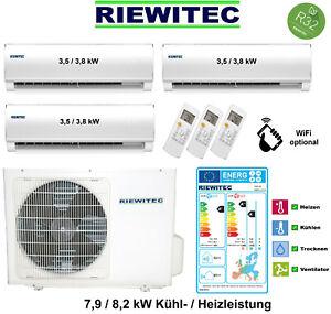 Triple MultiSplit (3 x 3,5 kW) RIEWITEC Klimaanlage 7,9/8,2 KW, A++/A+ mit R32