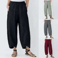 Ladies Womens Casual Solid Pocket Elastic Waist Loose Linen Pants Trousers US