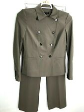 Ann Taylor Womens 2pc Pant Suit Gray Career Wool Blend Jacket Sz 2 Pants Sz 4