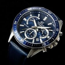 CASIO EDIFICE, EFR-552L-2A, NEOBRITE HANDS, BLUE DIAL AND GENUINE LEATHER BAND