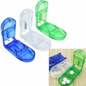 New Pill Cutter Splitter Half Storage Compartment Box Medicine Tablet Holder ###