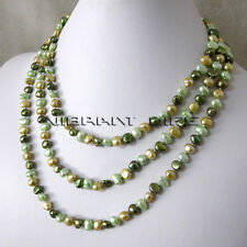 "56"" 5-6mm Light Green Champagne Dark Green Baroque Freshwater Pearl Necklace CUK"