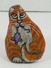 Vintage 1991 Nancy Diamond Signed Cat Gems Painted Rock, Sitting Cat w/Mouse