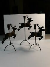 Reindeer Candle Holders Taper Brass Taiwan SET 3 Christmas Rudolph Unique Gift