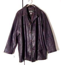 Vtg Dark Brown Leather Eddie Bauer Textured Leather Button Jacket Sz XL