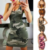 Summer Femmes Camo Mini Bodycon Dress Casual Sleeveless Long Shirt Vest Robes