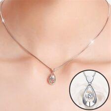 925 SILBER Herz Kette Halsketten AAA+ Zircon Anhänger Kristall Strass Collier
