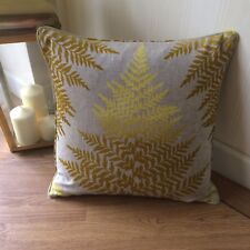 "HARLEQUIN CLARISSA HULSE FILIX FABRIC PIPED CUSHION COVER CADMIUM & OCHRE 16""x16"