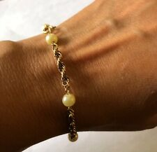 12 KT. GOLD FILLED ROPE BRACELET WITH PEARLS