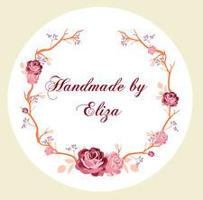 24 x 40mm Personalised Hand Made Stickers Round Labels Floral Design Craft 106