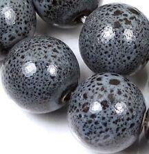 16mm Grey Black Raku Porcelain Potato Round Beads (10 pcs)