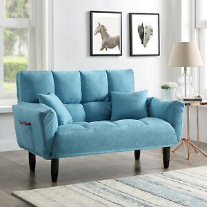 Modern Velvet Sofa Bed Blue Convertible Sleeper Tufted Metal Copper Legs Selnes