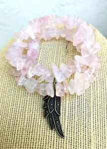 Double Gemstone Rose Quartz Chips Beaded Elastic Bracelets Chakra Feng Shui USA
