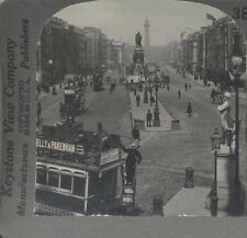 STEREOVIEW OF SACKVILLE STREET W/ MANY PEOPLE   TROLLEYS - DUBLIN, IRELAND