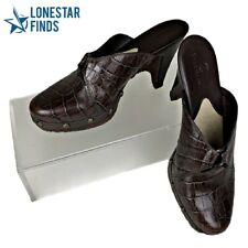 Cole Haan Brown Aligator Embossed Leather Clog Mules Heels Studded US Sz 8.5 B
