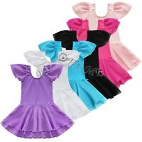 Kids Girls Gym Yoga Tutu Skirt Dancewear Ballet Leotard Dance Dress Costumes