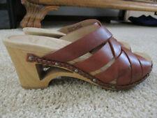 women's dansko strappy sandals heels size 37 Brown leather w/ studs & braid trim