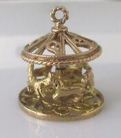 9ct Gold Charm - 9ct Yellow Gold Revolving Carousel Charm
