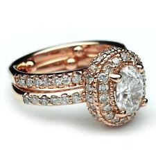 Oval Halo Diamond Engagement Ring GIA Certified 2.50 Carat 18k Rose Gold