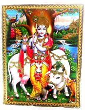 BILD picture Krishna und Nandi   Hinduismus Prägedruck INDIEN India Poster 323