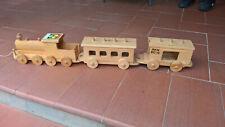 Treno in legno locomotiva più due vagoni vintage PEZZO UNICO
