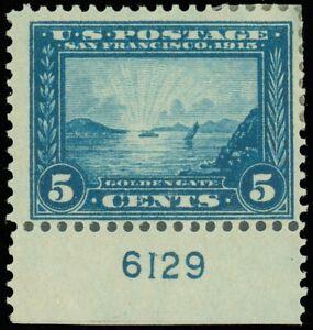"""Scott #399 5¢ With PL# """"6129"""", Mint-Fine-Hinge Removed, SCV $65.00! (SK)"""