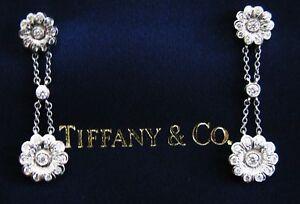 Tiffany & Co Platinum Diamond Rose Double Drop Earrings .59Ct