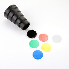 Studio Photo Strobe Flash Snoot + Honeycomb Grid + 5 Color Gel Filter Accessorie