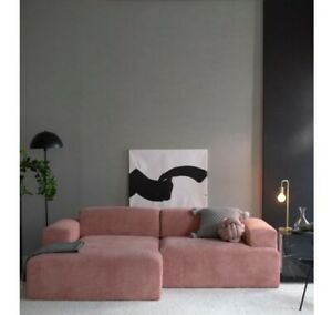 Designer Sofa Couch Ecksofa 3-Sitzer altrosa Cord