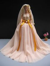 Brown Wedding Gown Outfit Costumes Dress up Handmade for Barbie, Dolls Clothing