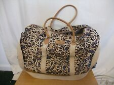 Travel Holdall beige/blue/black abstract coated cotton, leather handles 3271