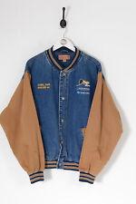 Vintage Uomo 90s Jeans Giacca Stile Varsity Blu Scuro ( XL