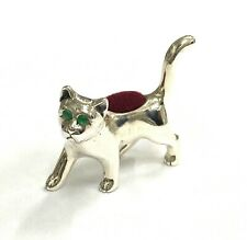 Victorian Style Miniature Cat Kitten Pin Cushion 925 Sterling Sewing Needle