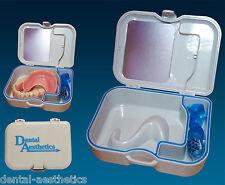 Denture Storage Case Mirror & Brush ~ Dental Appliance Box,  Cleaning Bath
