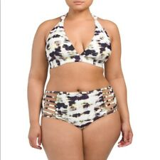 New Rachel Roy Marble Tie Dye Bikini 2PC Swimsuit Swimwear Plus Size 24W
