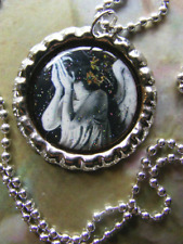 Weeping Angel DOCTOR WHO Glitter metal Bottle Cap Pendant - ball chain necklace