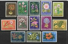 SIERRA LEONE 1963, FLOWERS, Scott 227-239, MINT, VERY LIGHT HINGE REMNANTS