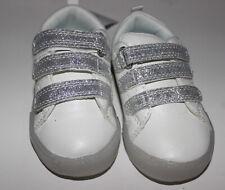 NWT Toddler Girls OSHKOSH B'GOSH White & Silver Tennis Shoes Size 6
