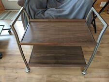 Vintage Wooden 2 Tier Shelf TV Tray Rolling Cart