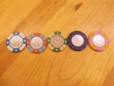 "Lot Of 5 Las Vegas ""JACKPOT CASINO"" Gaming Chips Poker Gambling Tokens"