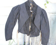 Victorian Antique black lace French bodice womans victorian corseted jacket