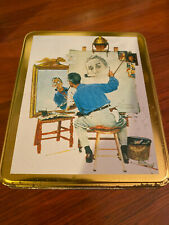 Norman Rockwell Triple self portrait centennial tin with note cards; 1994