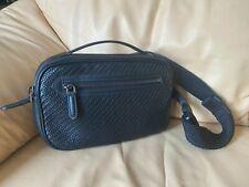 Authentic Ermenegildo Zegna Pelle Tessuta Black Leather Belt Bag Fanny Pack