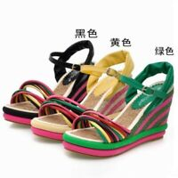 Womens Buckle Peep Toe Colorful Wedge Ankle Strap High Heels Sandals Shoes Chic