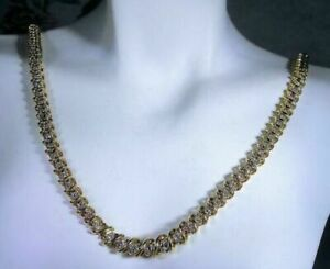 Men's 12Ct Round Sim Diamond S Link Tennis Necklace 14k Yellow Gold FN