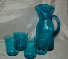 Handmade lemonade set dark jade coloured heavy glass jug and 4 glasses