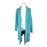 Matilda Jane Size S Teal Open-Front Knit Cardigan Sweater Cotton Blend