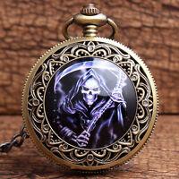 Vintage Retro Death Skull Pocket Watch Chain Quartz Necklace Pendant Antique New