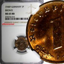 Germany-Third Reich Bronze 1940 F 1 Reichspfennig NGC MS65 RB TOP GRADED KM# 89