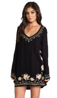 NWT Free People Embroidered Dress Black Size XS